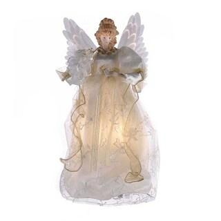 Kurt Adler 14-inch Fiber Optic Ivory and Gold Animated Angel Treetop