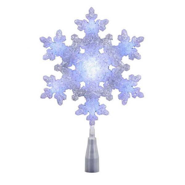 Kurt Adler UL 10-light White/Blue LED Snowflake Treetop