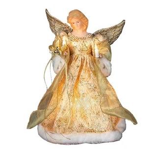 Kurt Adler UL 10-light 12-inch Gold Dress Angel Treetop