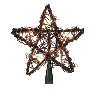 Kurt Adler 10-light Rattan Natural Star Treetop