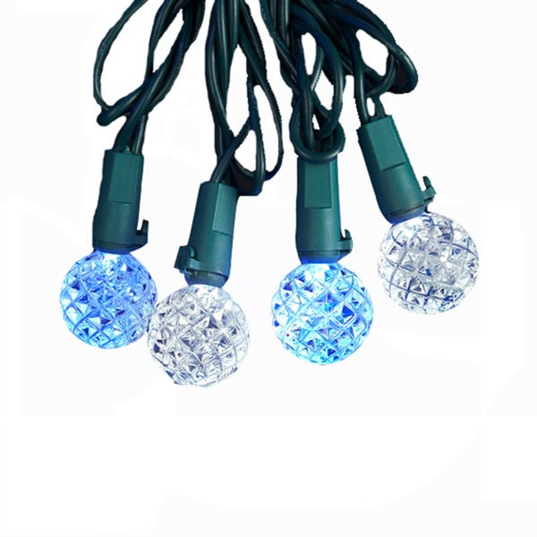 Kurt Adler UL 25-light LED G8 White and Blue Diamond Cut Light Set