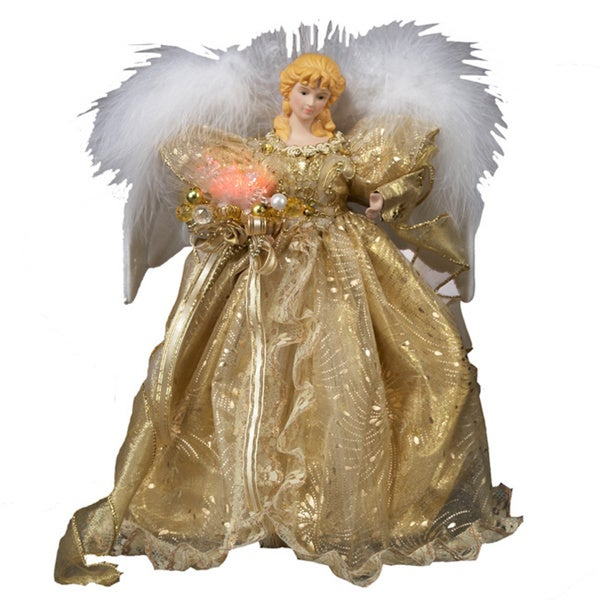 Kurt Adler 12-inch Fiber Optic Gold Angel Treetop