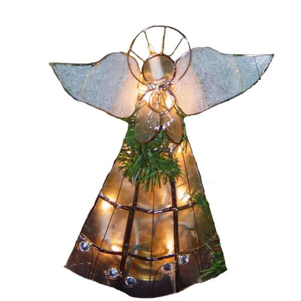 Kurt Adler 10-light Capiz Angel Treetop with Trumpet