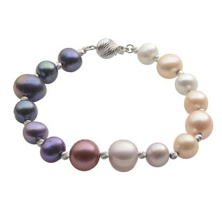 Pearls For You Ombre Freshwater Pearls and Brilliance Bead Bracelet (8-9 mm, 10-11 mm)