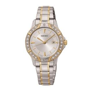 Seiko Women's SUR876 Stainless Steel and Swarovski Crystal Watch