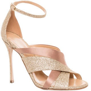 Sergio Rossi Women's Satin and Glitter Ankle-strap Sandals