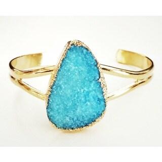 Pretty Little Style Goldtone Blue Druzy Adjustable Bracelet