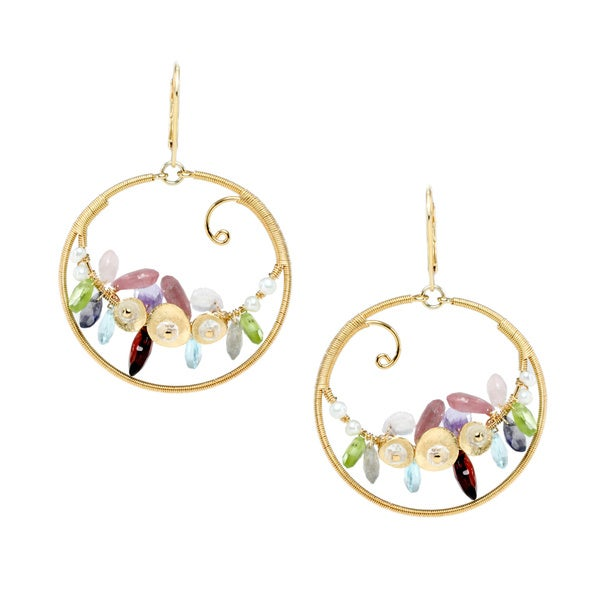 Michael Valitutti Sterling Silver Multi-gemstone Hoop Swirl Earrings