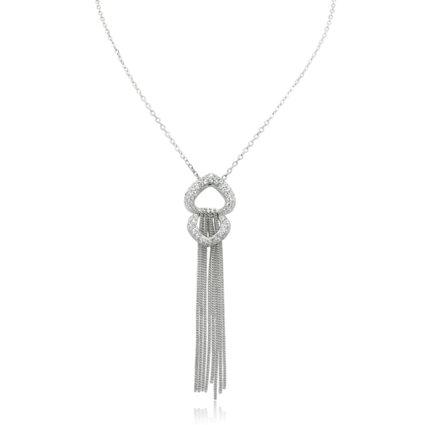 Gioelli Sterling Silver Cubic Zirconia Double Heart Tassel Pendant Necklace
