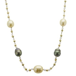 Sterling Silver Tahitian, Golden South Sea Pearl/ Pyrite 18-inch Necklace (10-11 mm)