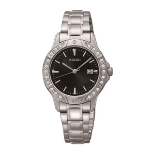 Seiko Women's SUR877 Stainless Steel and Swarovski Crystal Watch