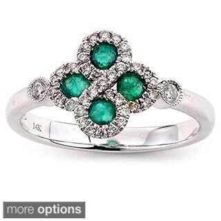 Neda Behnam Diamonds For a Cure 14k White Gold 1/4ct White Diamonds and Gemstone Clover Ring (G-H, VS1-VS2)
