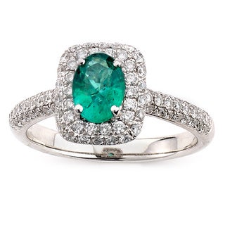 Neda Behnam Diamonds for a Cure 14k White Gold Oval 3/4ct TDW Diamond Emerald Ring (G-H, SI1-SI2)