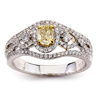 Neda Behnam Diamonds for a Cure 14k White Gold Fancy 1ct Yellow and White Diamond Ring (G-H, SI1-SI2)