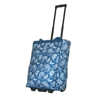 Dadamo 20-inch Blue Paisley Rolling Shopper Tote