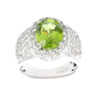 Sterling Silver Oval Peridot with White Topaz Halo Ring