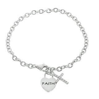 Eternally Haute Sterling Silver Message of Faith Cubic Zirconia Pave Cross Charm Bracelet