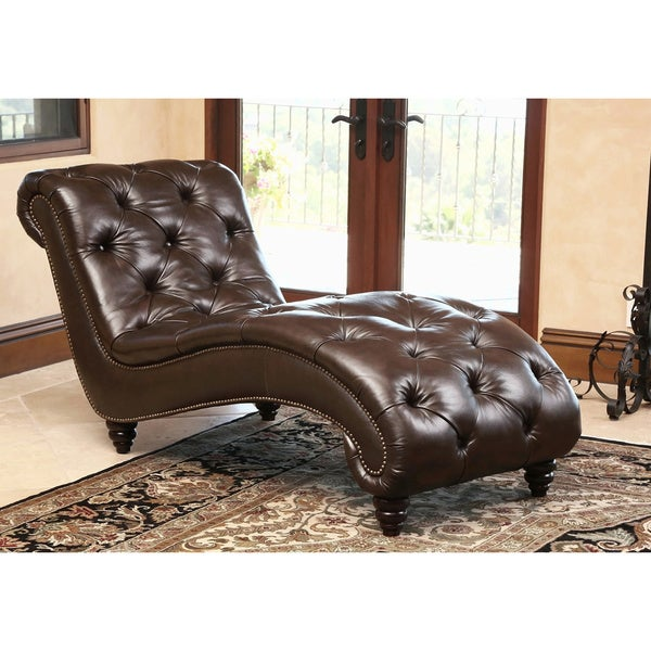 Abbyson living carmela dark brown top grain leather chaise for Brown leather chaise lounge