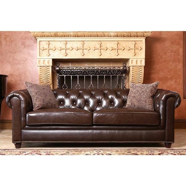 Abbyson Living Carmela Dark Brown Top Grain Leather Chesterfield Sofa 16718771