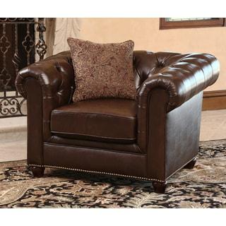 Abbyson Living Carmela Dark Brown Top Grain Leather Chesterfield Armchair