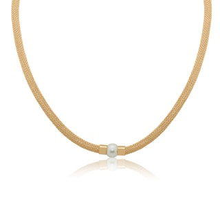14k Yellow Gold Freshwater Pearl Mesh Necklace (8 mm)