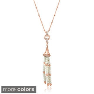 Sterling Silver Gold-plated Freshwater Pearl cubic zirconia Tassel Pendant Necklace