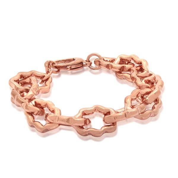 Gioelli Rose Gold-plated Bronze Italian High Polished Designer Link Bracelet