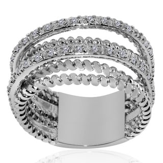 Gioelli Sterling Silver Layered 1/6ct TDW Diamond Ring (H-I, I2-I3)