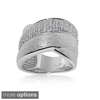 Gioelli Sterling Silver Brushed Crossover 1/4ct TDW Diamond Ring (H-I, I2-I3)