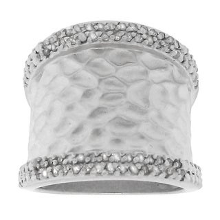 Gioelli Sterling Silver Satin Concave Textured 1/3ct TDW Diamond Ring (H-I, I2-I3)