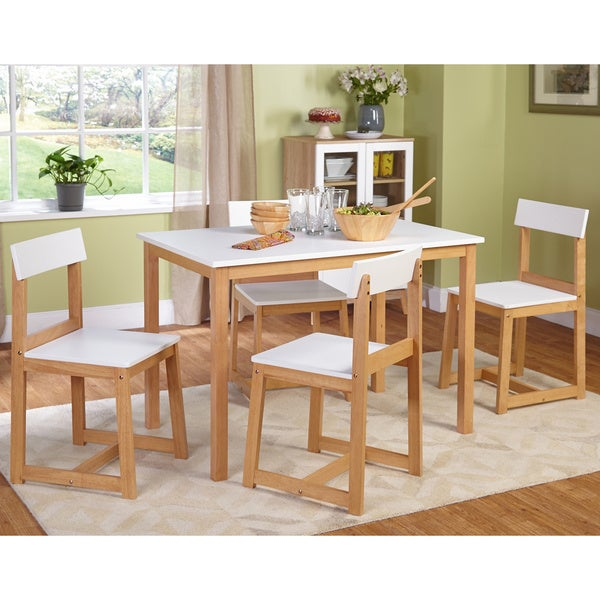 Simple Living Aria White/ Natural 5-piece Dining Set