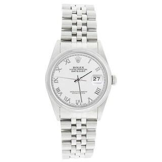 Pre-Owned Rolex Men's 16200 Datejust Stainless Steel Jubilee Bracelet White Roman Watch