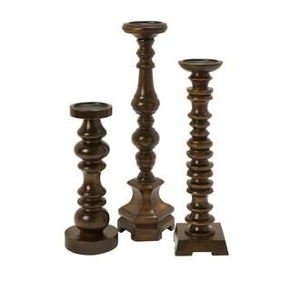Nilay Wood Candleholders In Old Oak Finish (Set of 3)