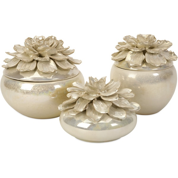 Blair Hand-sculpted Floral Boxes (Set of 3)