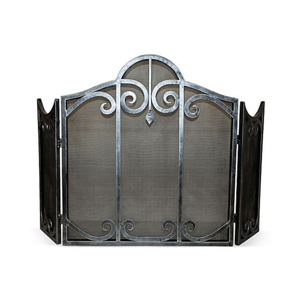 Pewter Scroll Mesh Firescreen