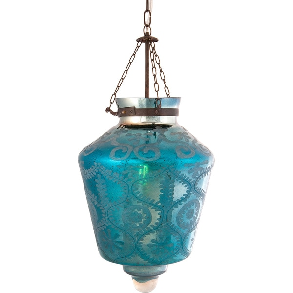 Indigo Etched Glass Pendant Light