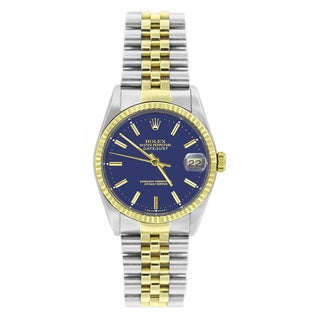 Pre-owned Rolex Men's Datejust 16233 Two-tone Blue Stick Watch