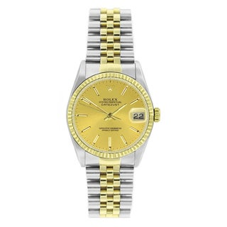 Pre-Owned Rolex Men's Datejust 16233 Two-tone Champagne Stick Watch