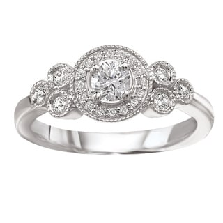 Avanti 14k White Gold Round Halo Vintage Diamond Ring (G-H, SI1-SI2)