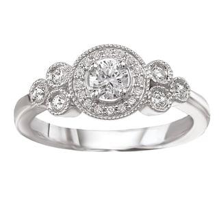 Avanti 14k White Gold Round Halo Vintage-style Diamond Engagement Ring (G-H, SI1-SI2)