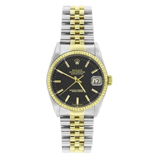 Pre-owned Rolex Men's Datejust 16233 Two-tone Black Stick Watch