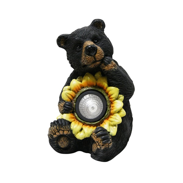 Solar Powered Black Bear with Sunflower Statue