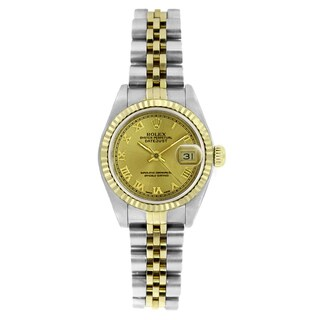 Pre-owned Rolex Women's 6917 Datejust Two-tone Champagne Roman Watch