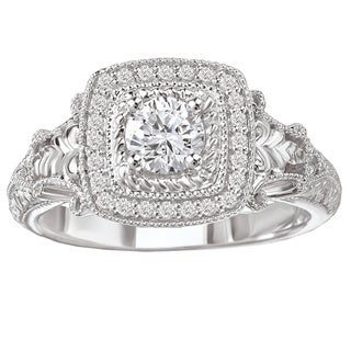 Avanti 14k White Gold 1/2ct TDW Square Vintage Halo Diamond Ring with Rope and Scroll Detail (G-H, SI1-SI2)