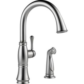 Delta Cassidy Arctic Stainless Single Handle Kitchen Faucet with Spray