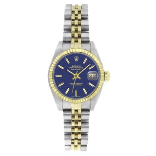 Pre-owned Rolex Women's 6917 Datejust Two-tone Blue Stick Watch