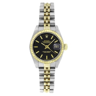 Pre-Owned Rolex Women's 6917 Datejust Two-tone Black Stick Watch