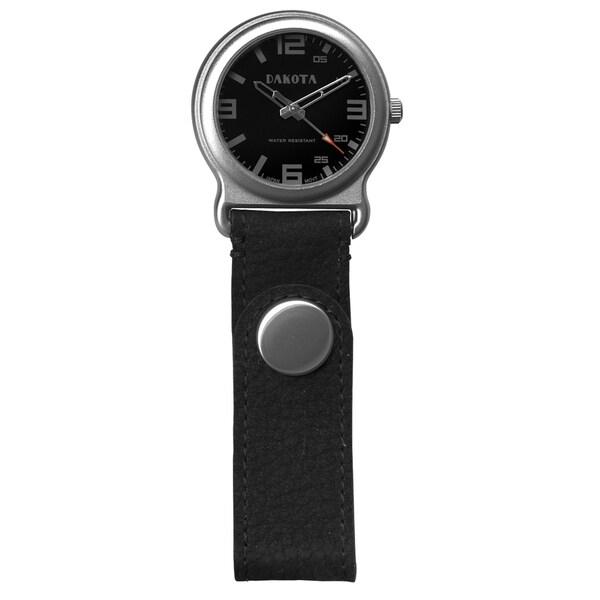 Dakota Men's Black Leather Snap Fob Watch