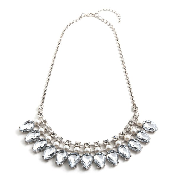 Asissi Silvertone Crystal Necklace