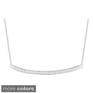14k Gold 1/6ct Diamond Curved Trapeze Bar Necklace (G-H, I1)